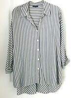 Premise Studio Womens 1X  Blouse Top Shirt  Extra Large Gray White Long Sleeve