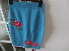 SISTER BY SIBLING WOMEN'S Blue Knitted Rose Motif Skirt  - SIZE small