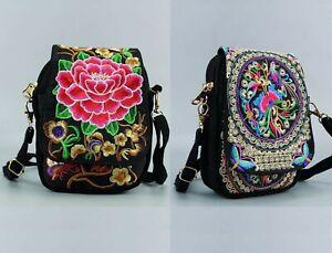 crossbody bag purse embroidered floral flower boho hippy ethnic festival vegan