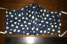 Blue Floral Face Mask, Daisies, 2 fabric layers, fitted, flowers, adult, Daisy