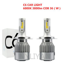 2PCS C6 H4/HB2/9003 LED Car Headlight Kit 72W 10800LM 6000K Cold White Bulbs