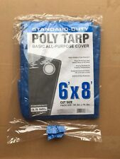 New: Standard Duty Poly Tarp 6'x8' Basic All-Purpose Cover Blue 3.5 Mil ~ C8