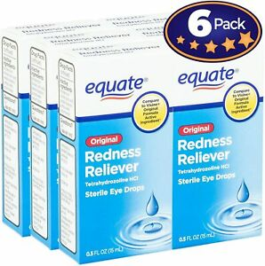 [6-Pack] Equate Redness Reliever Sterile Eye Drops 0.5 oz, Dropper Bottle -...