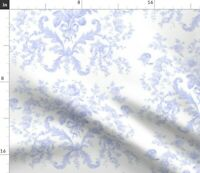 Blue Purple Roses Lavender French Toile Rococo Spoonflower Fabric by the Yard