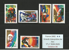 FRANCE 2002...3500-3505...MNH...Great Interpreters of Jazz...YT 6€