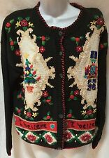 Ugly Christmas Sweater Cardigan Black I Believe Tree Toy Soldier Size M