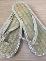 FLIP-FLOPS SEAGRASS GIRLS UK 1-2 BY ACCESSORIZE GOLD SEQUINNED (HNK893) *