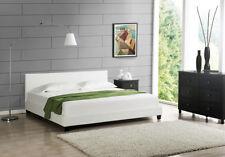 Cama moderna doble tapizada 200x200cm armazón blanco, marcos de piel sintética