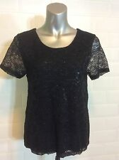 SIZE 10 H&M S BLACK LACE TOP GLOSSY GOTH STEAMPUNK WHITBY PARTY