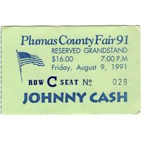 JOHNNY CASH Concert Ticket Stub QUINCY CALIFORNIA 8/9/91 PLUMAS COUNTY FAIR Rare