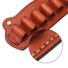 Tactical 6 Cartridge Genuine Leather Shotgun AMMO Shell Buttstock Holder Pouch