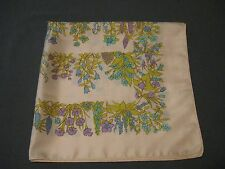 VINTAGE LIBERTY OF LONDON SILK SCARF IVORY WITH AQUA & LAVENDER SPRING FLOWERS
