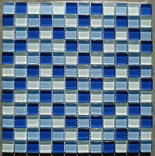 1qm Glasmosaik Fliese blau 8mm dick Klarglas 29,8x 29,8x0,8cm; Bad Küche