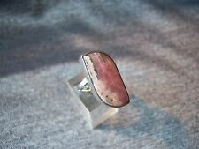 Sterling Silver 925 & Rhodochrosite Ring -  Size R 1/2