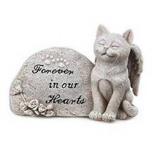 Peaceful 4x6 KITTY CAT ANGEL MEMORIAL GARDEN STONE Forever in our Hearts ~ NEW!
