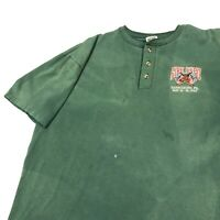 Vintage 90s Fire Expo Firefighter Henley T Shirt Mens Adult L Green Harrisburg