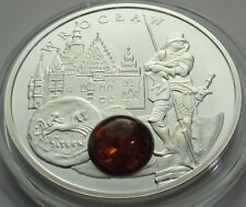 NIUE ISLAND 1 $ 2012 AMBER ROUTE WROCLAW  SILVER PROOF WITH COA
