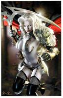 LADY DEATH BATTLE ARMOR ART PRINT Signed by BRIAN PULIDO / COFFIN COMICS