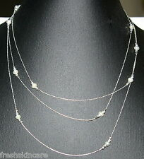"60"" Sterling Silver 925 Chain & Beads with Freshwater Pearls Fine Long NECKLACE"