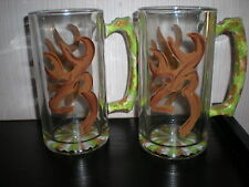 HAND PAINTED CAMO DEER HEAD IN BROWNS AND GREENS. AND PINK SET OF 2 PILSNERS