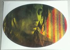 BOB MARLEY PHOTO RD GRN YW STRIPES OVAL RASTA OFFICIAL GUITAR CASE AMP STICKER