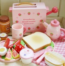 Mother Garden toast strawberry bread machine Pretend Wood toys Set Game Ages 3+!