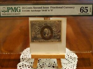 1863 25 Cents FR # 1286 Second Issue Fractional Currency PMG UNCIRCULATED 65 EPQ
