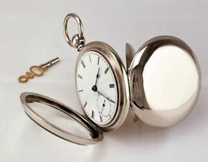 Model 1857 WALTHAM HOME WATCH Key Wind Pocket Watch MINT DIAL 18s RUNS YEAR 1871