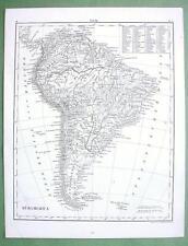 1844 MAP Original - South America Mountains Rivers