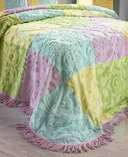 Layla Full/Queen Bedspread Chenille Floral Design Patchwork Bedroom Decor