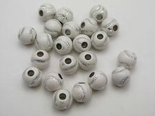 100 White Sparkling Silver Baseball Pattern Acrylic Round Beads 12mm