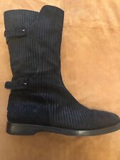 JIMMY CHOO BLACK BOOTS IN STRIPED SUEDE (RABBIT FUR LINING) SIZE 36.5