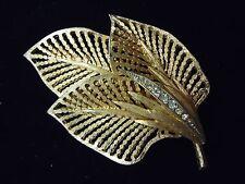 Vintage Elegant Clear Rhinestone Studded Brushed Gold Triple Leaf Brooch Pin