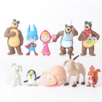 10pcs Masha And The Bear Action Figure Cute Doll Cake Topper Play set Toy Gift