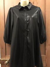 BNWT Zara Black Faux Leather A- Line Mini Dress Size Xs- UK 6-8-10