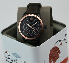 NEW AUTHENTIC FOSSIL FLYNN SPORT CHRONO BLACK BROWN LEATHER MEN'S BQ2378 WATCH