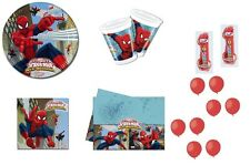 KIT COMPLEANNO N.6 SPIDERMAN WEB WARRIORS + FORCHETTE E PALLONCINI ROSSI ADDOBBI