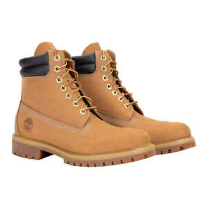 New With Box Mens Timberland Premium 6 Inch Waterproof Leather Boot Wheat Nubuck