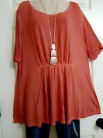 Lane Bryant NWT Dip Dyed Coral Pulled Pleat Front Stretchy Top Plus 18/20 1X/2X