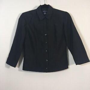 Ann Taylor Jacket Women Size 4P Petite Black Button Front