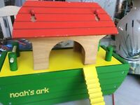 Beautiful wooden Noah's ark with posable dolls and lovely 3D animal characters