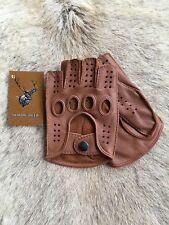 Fingerless Deerskin Driving Leather Gloves Men's Brown