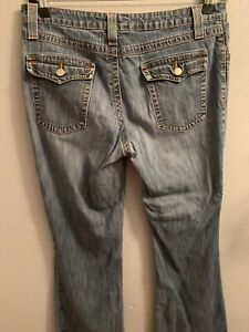kikit jeans Size 10 Jeans Lightly Distressed Faded Button Flap Pockets