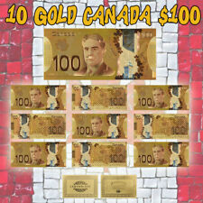 WR Gold Canada Banknote 100 Dollar Colored Bill 10pcs Set Collectible Lot Crafts