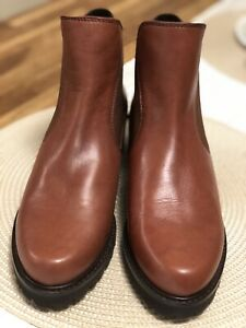 Stuart Weitzman Leather Ankle Boots Sz 9  Cognac NWOB Retail $598