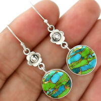 Blue Turquoise In Green Mohave - USA 925 Sterling Silver Earrings Jewelry 8630