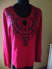 VictorCosta OccassionRed Sweater Embellished BlackBeads LongSleeves PullOn Sz L
