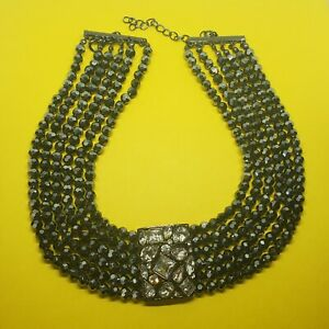 KJL by Kenneth Jay Lane, 6 Row Faceted Bead Necklace, Signed