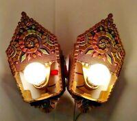 VTG Pair Williamson Beardslee Vivid Original Colors Slip-Sconce Frames 1900-1940