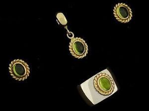 Genuine 9ct Gold Natural Peridot Earrings, Ring & Bead /Pendant Matching set